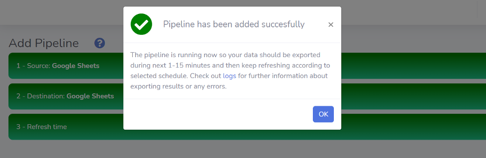 Pipeline added successfully